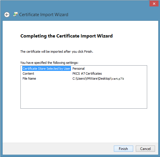Install a Code Signing certificate generated via a MMC